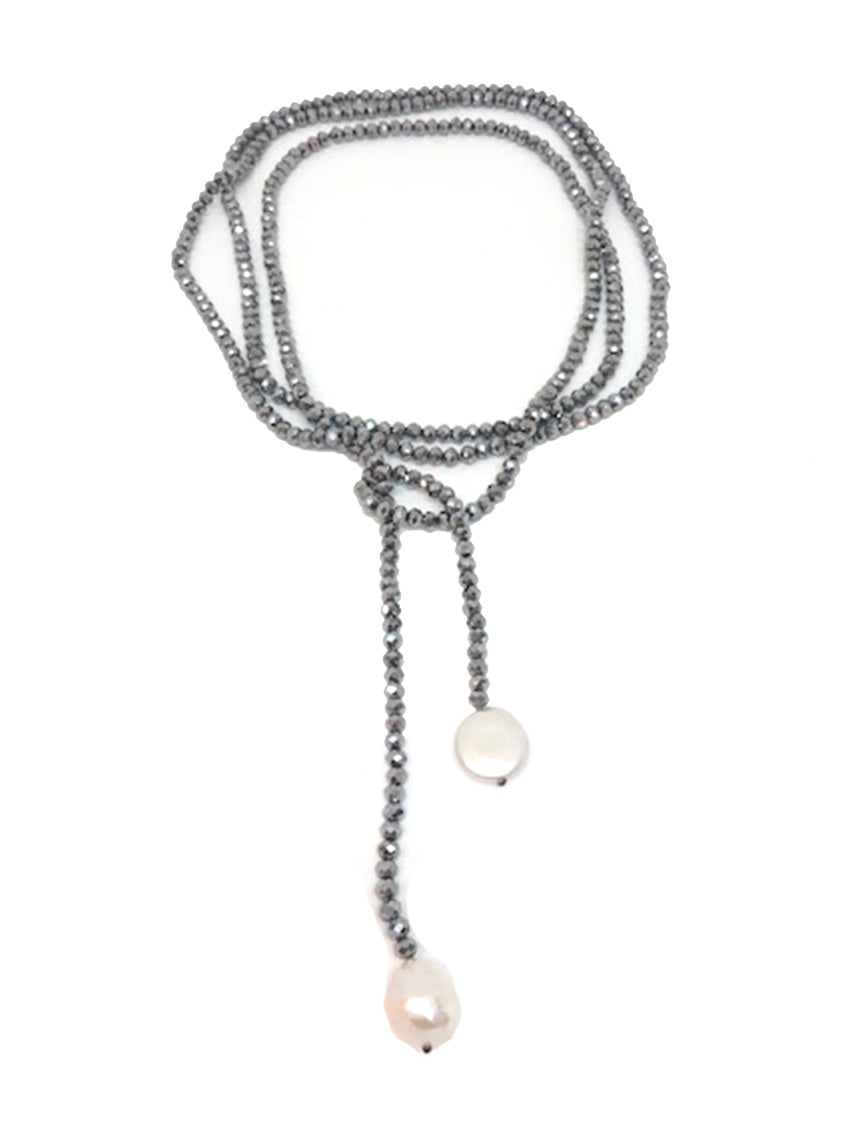 Pearl & Smoky Crystal Necklace