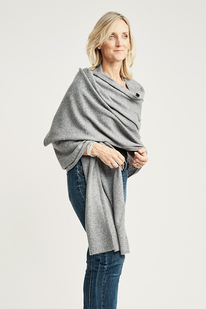 Medium Grey Lightweight Wrap - Cashmere - Queen & Grace