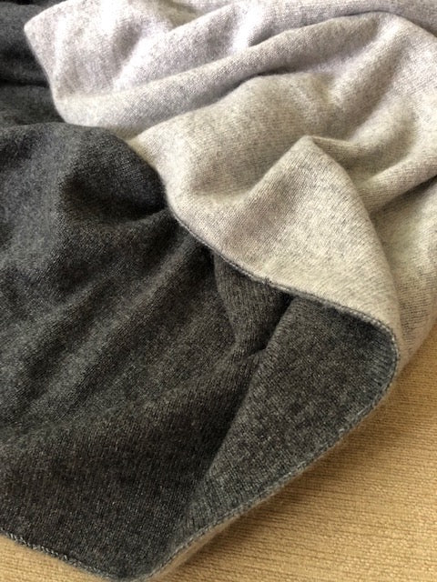 Charcoal + Medium Grey | Double Sided Cashmere Blanket - Cashmere - Queen & Grace