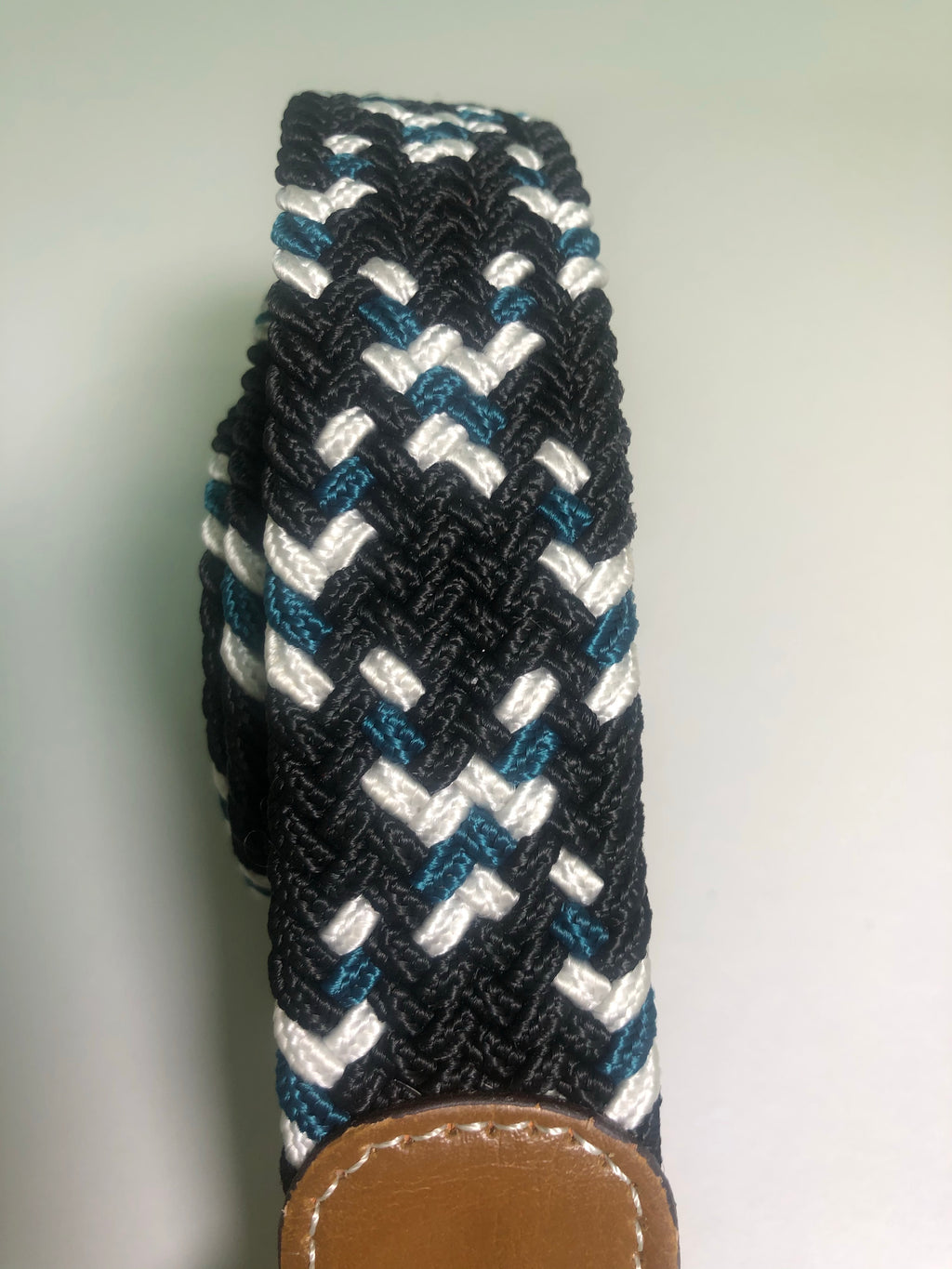 Woven Belt - Black, White & Teal