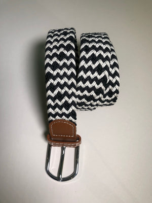 Woven Belt - Chevron Black & White