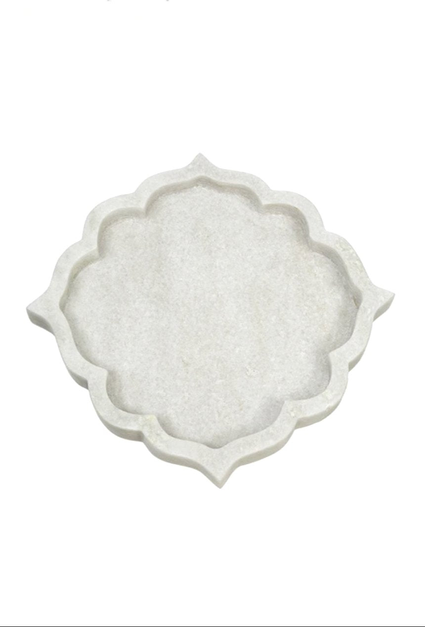 Arabesque White Marble Tray