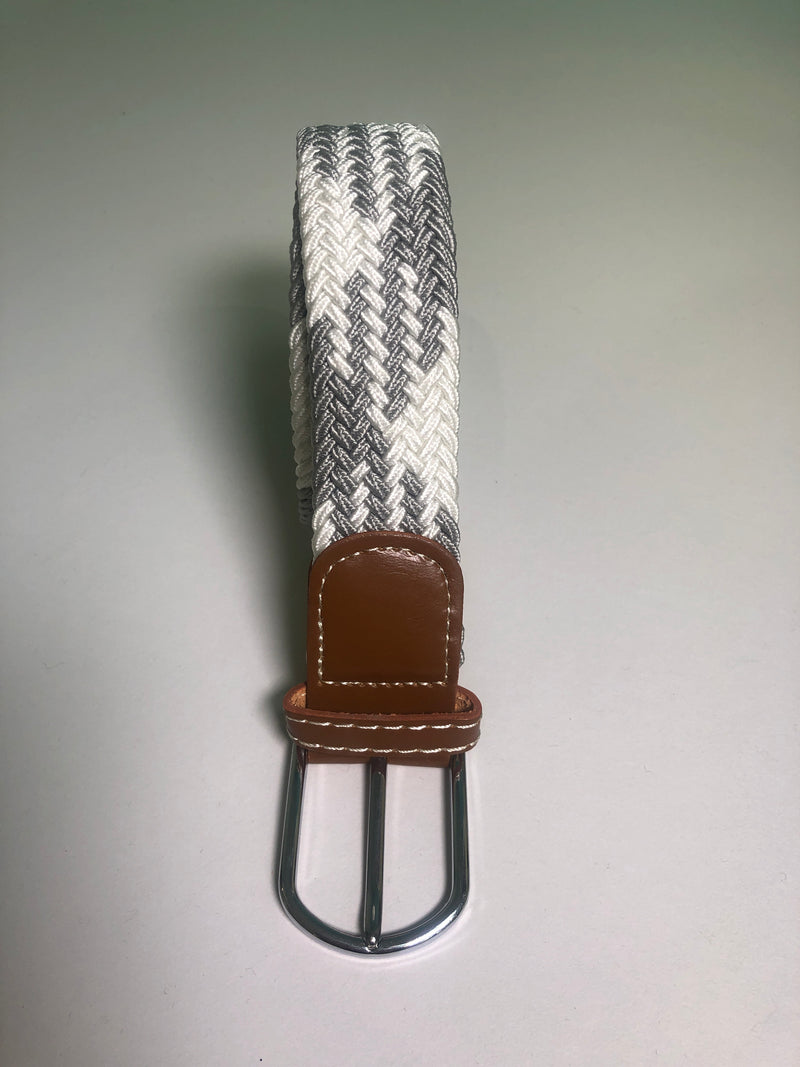 Woven Belt - Grey & White