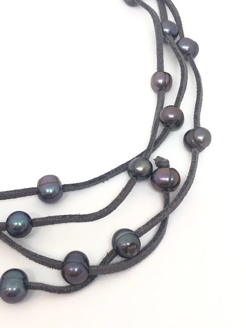Grey Pearl & Charcoal Leather Necklace