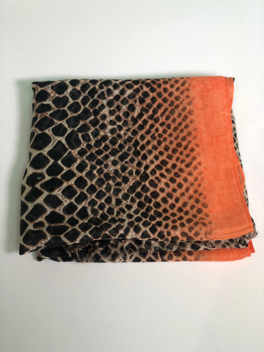 Orange on Black Leopard Scarf
