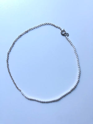 White Pearl & Silver Necklace | Premium Grade