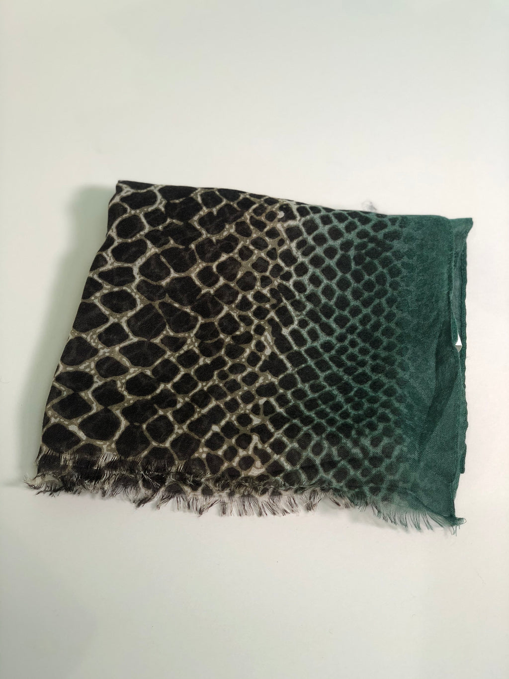 Green on Black Leopard Scarf