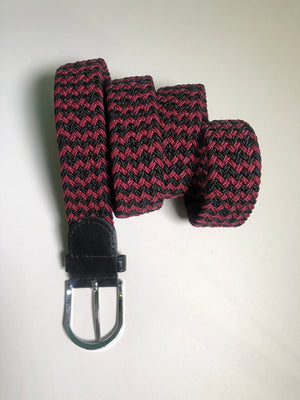 Woven Belt - Chevron Black & Bordeaux