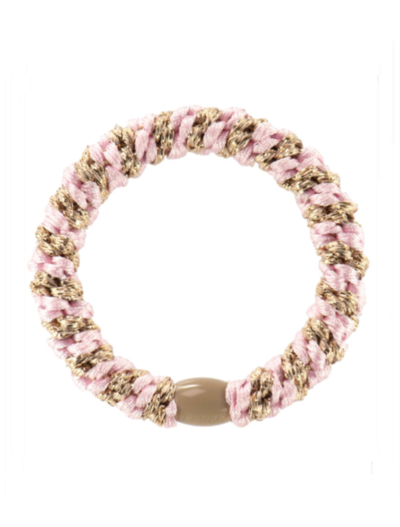 Hair Ties | Light Pink Beige Stripe Glitter