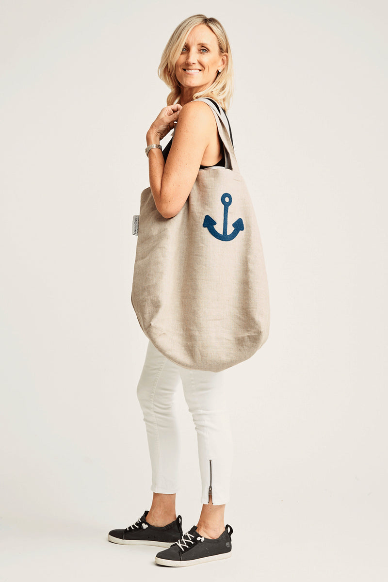 LINEN TOTE | Monogrammed - Accessories - Queen & Grace