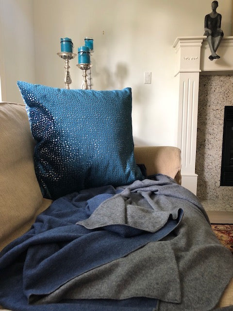 Blue and Grey | Double Sided Cashmere Blanket |