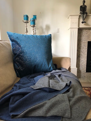 Blue and Grey | Double Sided Cashmere Blanket | - Cashmere - Queen & Grace
