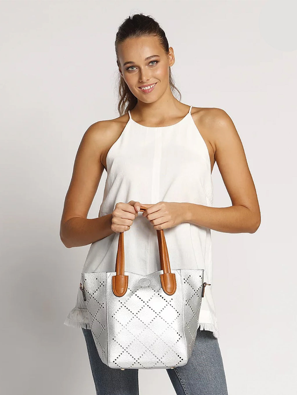Baby Bermuda | Silver - Handbags - Queen & Grace