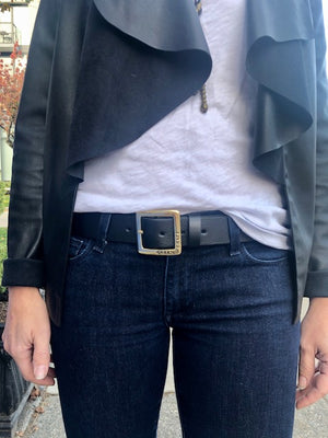 Ladies Belt | Sterling Silver Square Buckle