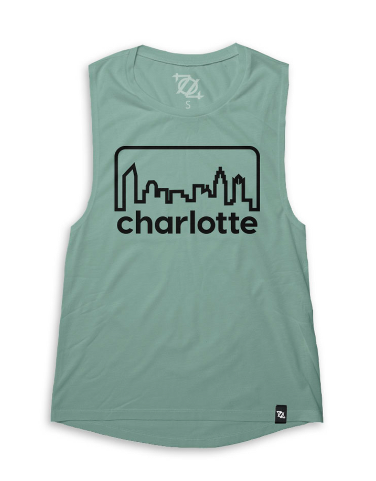 704 Shop Retro Skyline Muscle Tank - Dusty Blue/Black (Women's)