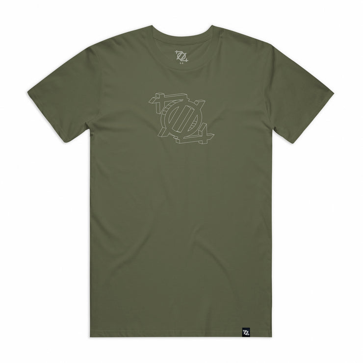 704 Shop 3D Logo Tee - Army/White (Unisex)
