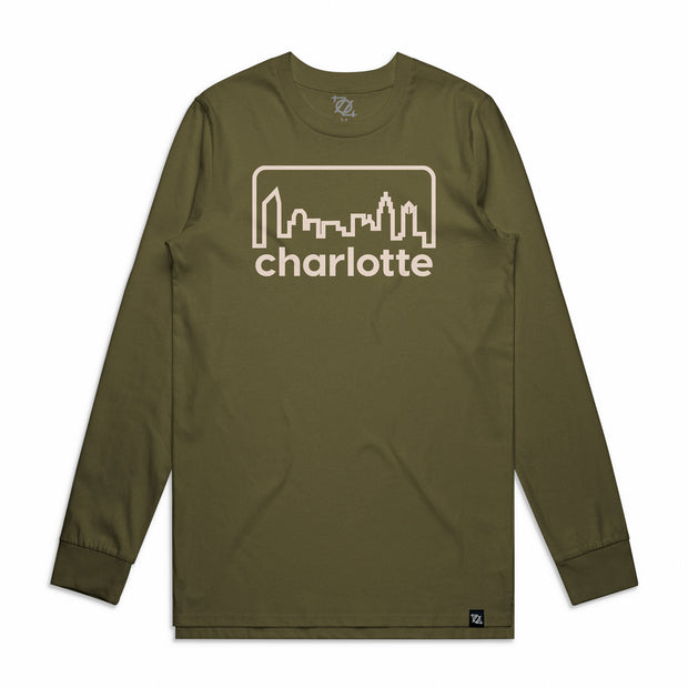704 Shop Retro Skyline Longsleeve Tee - Army/Natural (Unisex)
