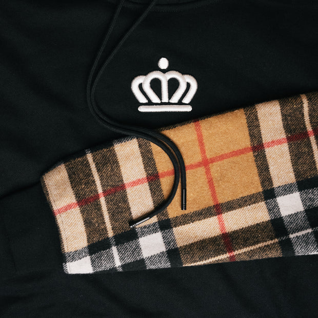 704 Shop Process™ Flannel Sleeved Hoodie - Black/Tan/Multi (Unisex)