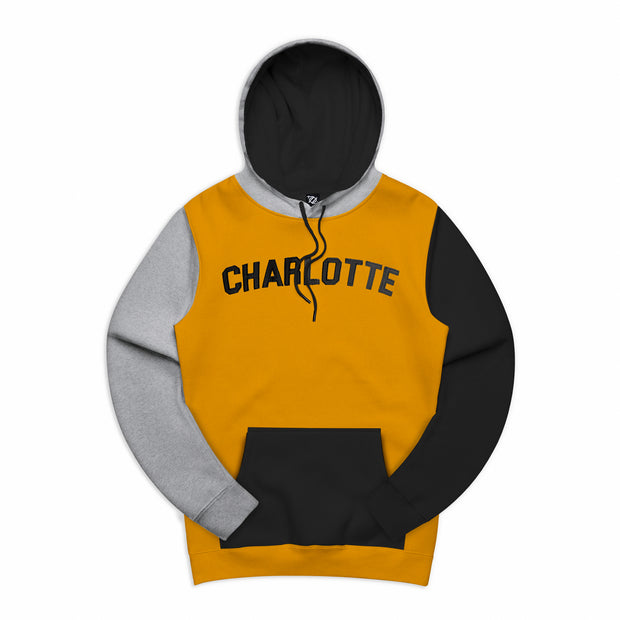 704 Shop Process™ Color Blocked Charlotte Varsity Hoodie - Buckthorn/Heather Gray/Black (Unisex)