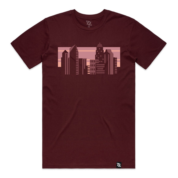 704 Shop Geo Skyline Crew Neck Tee - Burgundy (Unisex)