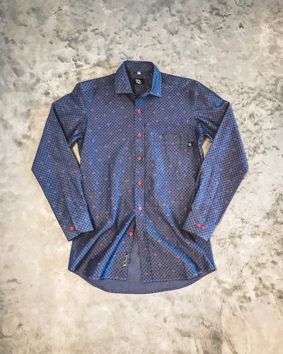 704 Shop Premium Button Up - Indigo/Red Floral Pattern  (Men's)