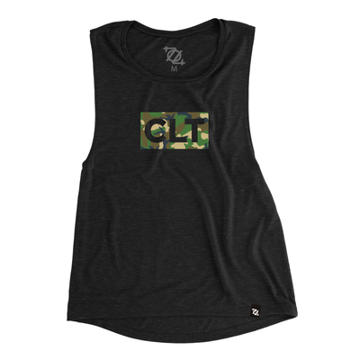 704 Shop CLT Box Camo Muscle Tank - Black (Women's) *LIMITED EDITION*