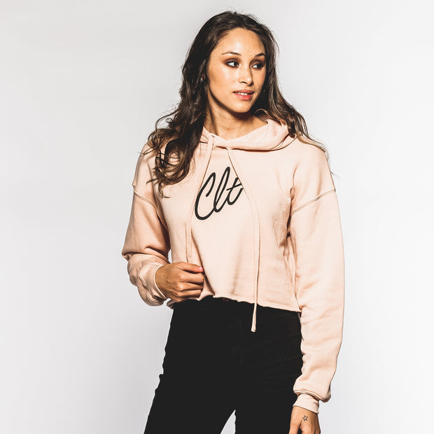 704 Shop Micro CLT Script Cropped Hoodie - Peach(Women's)