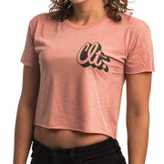 704 Shop CLT Script Outline - Flowy Cropped Tee  -Desert Pink (Women's)