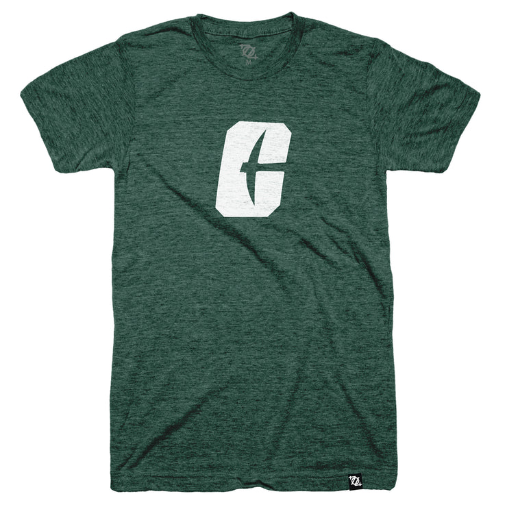 704 Shop x Charlotte 49ers - Primary C Logo Tee - Green/White (Unisex)