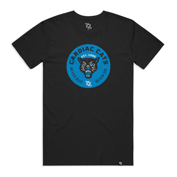 704 Shop Cardiac Cats Tee (Unisex) Black/Blue