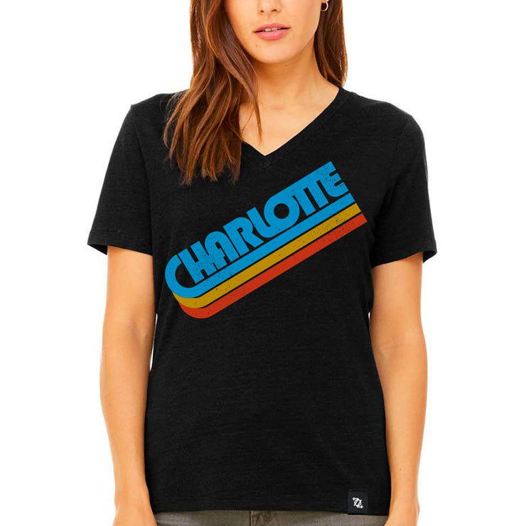 704 Shop Charlotte in the 70's V-Neck Tee - Heather Black (Women's)