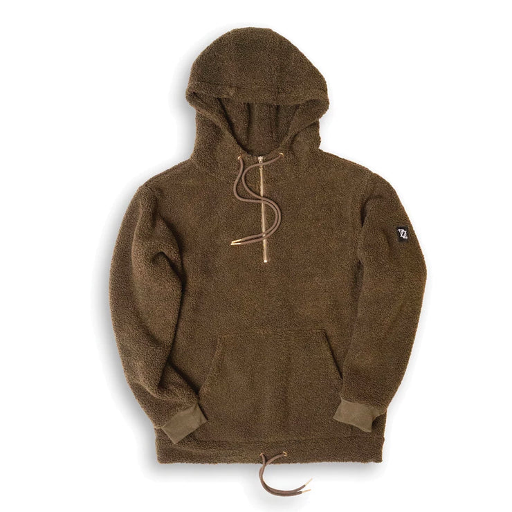 704 Shop Essential Double-Layered Sherpa Pull-Over Hoodie - Olive