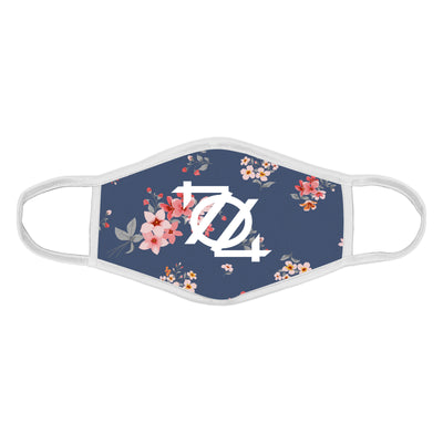 704 Shop 704 Logo Face Mask - Floral Pattern Blue/White