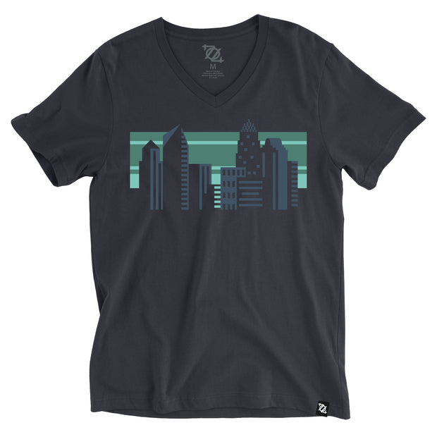 704 Shop Geo Skyline V-Neck Tee - Navy (Unisex)