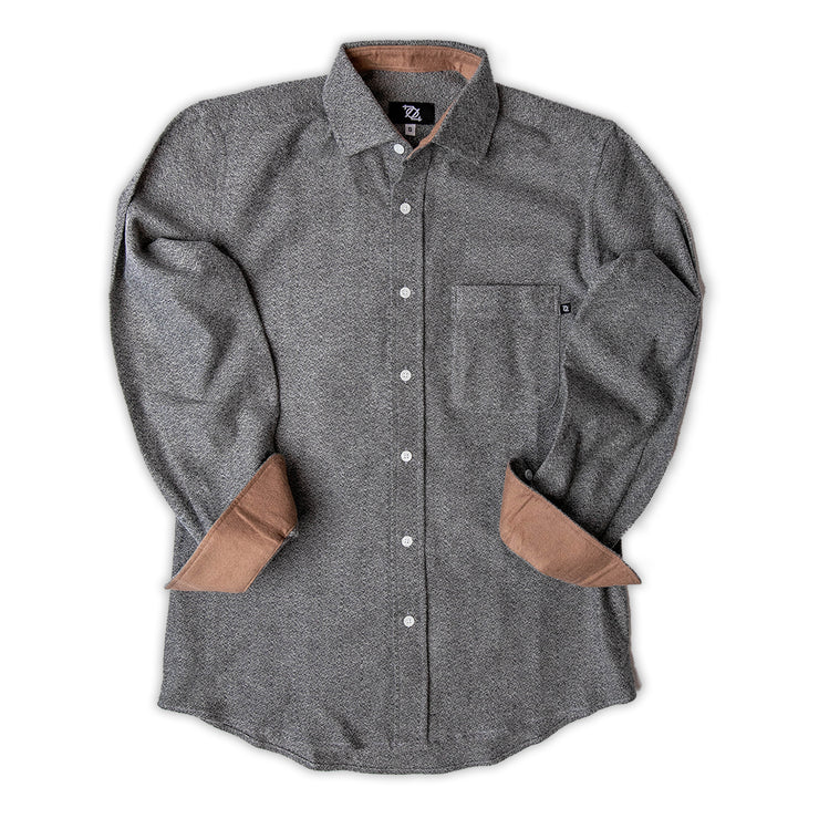 704 Shop Premium Flannel Button Down - Heather Gray/Camel
