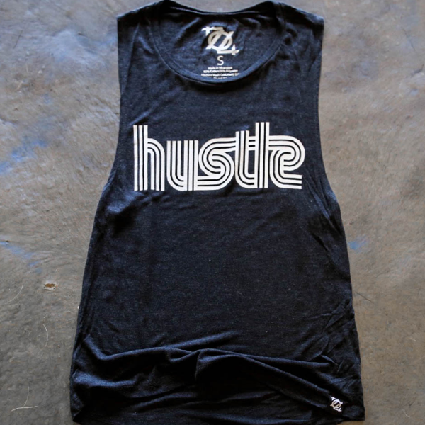 704 Shop Hustle Muscle Tank - Black Charcoal/White (Women's)
