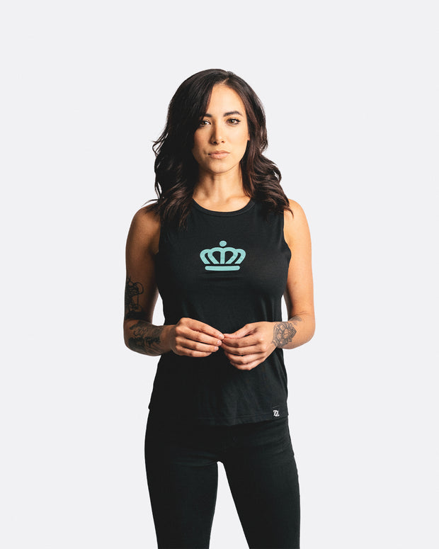 704 Shop x City of Charlotte Official Crown Muscle Tank - Black/Mint (Women's)