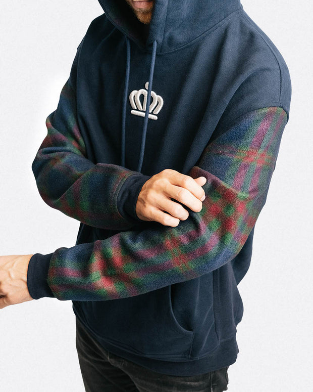 704 Shop Process™ Flannel Sleeved Hoodie - Navy/Navy/Multi (Unisex)