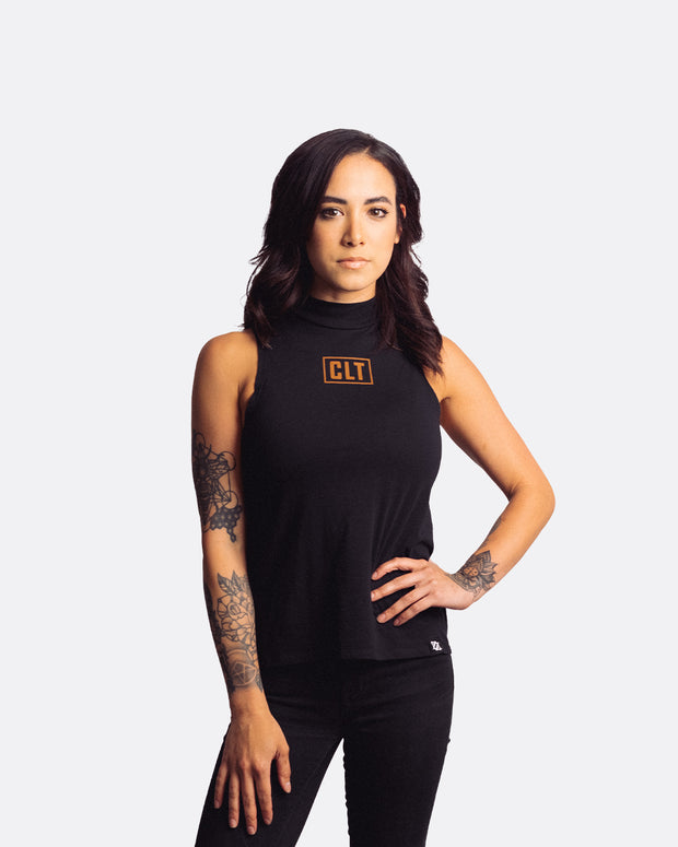 704 Shop CLT Box Mock Neck Tank - Black/Peanut (Women's)