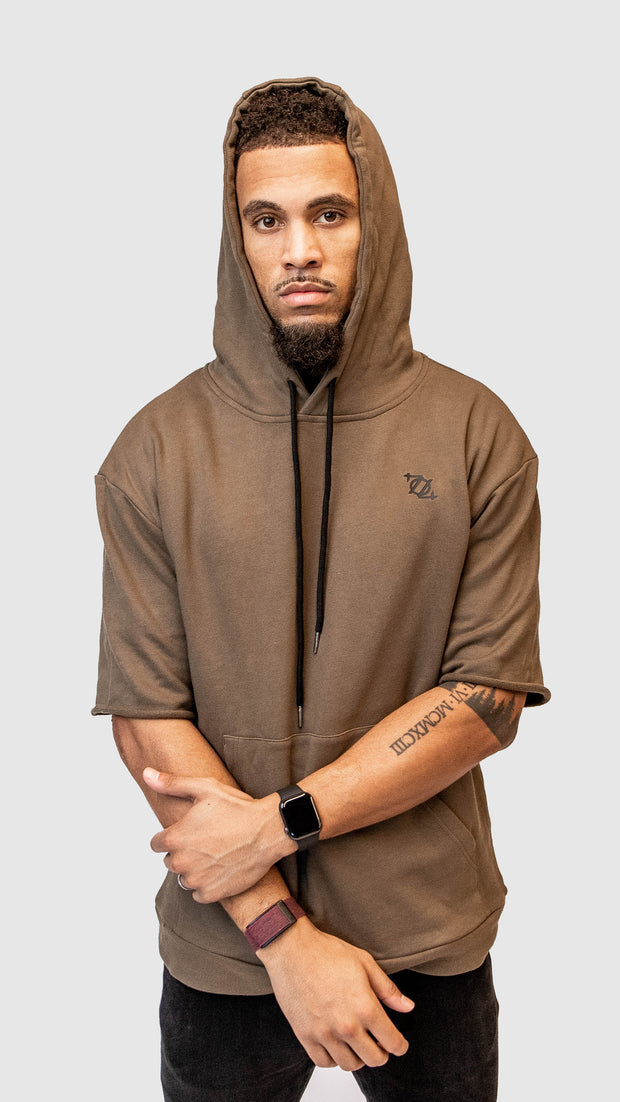 704 Shop Essential Short-Sleeve French Terry Hoodie - Olive