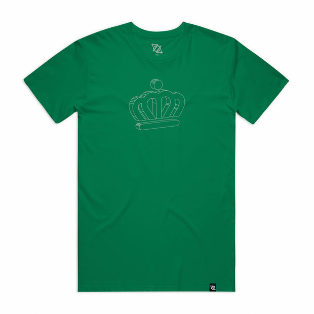 City of Charlotte Official Crown 3D Logo Tee - Kelly Green/White (Unisex)