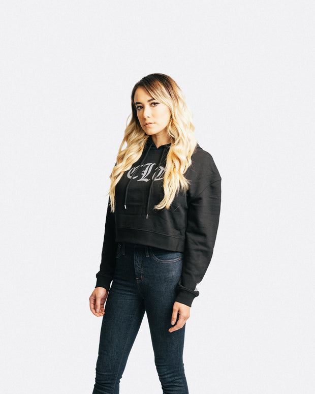 704 Shop CLT Gothic Cropped Hoodie - Black/Gray (Women's) *Black Friday Edition*