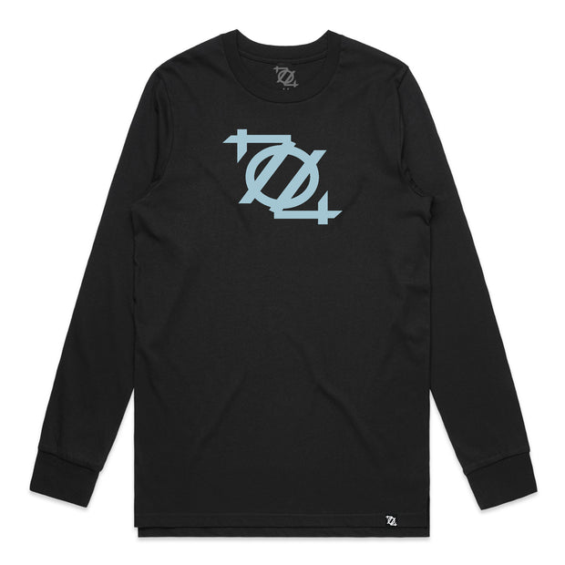 704 Shop Logo Long Sleeve Tee - Black/Tidewater Blue (Unisex)