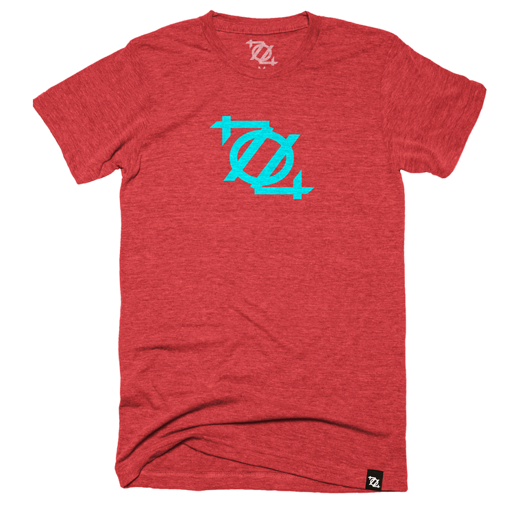 704 Shop Logo Tee - Red/Aqua (Unisex)