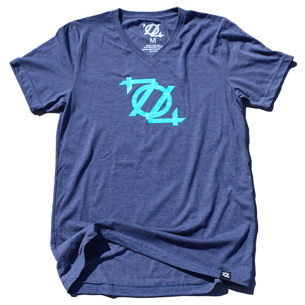 704 Shop Logo V-Neck Tee - Navy/Sea Foam (Unisex)