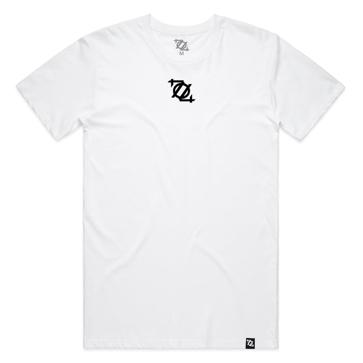 704 Shop Micro Logo Tee - White/Black (Unisex)