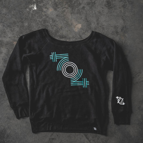 704 Shop 704 Retro Women's Wideneck Sweatshirt - Black/Teal