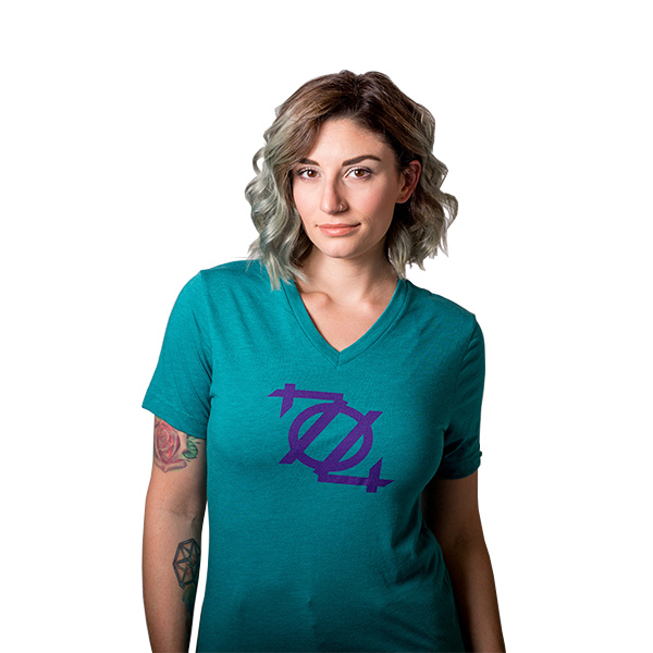 704 Shop Logo V Neck Tee - Teal/Purple (Unisex)
