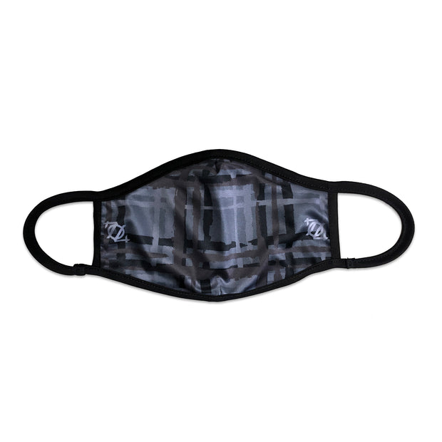 704 Shop Messy Plaid Face Mask - Gray/Black