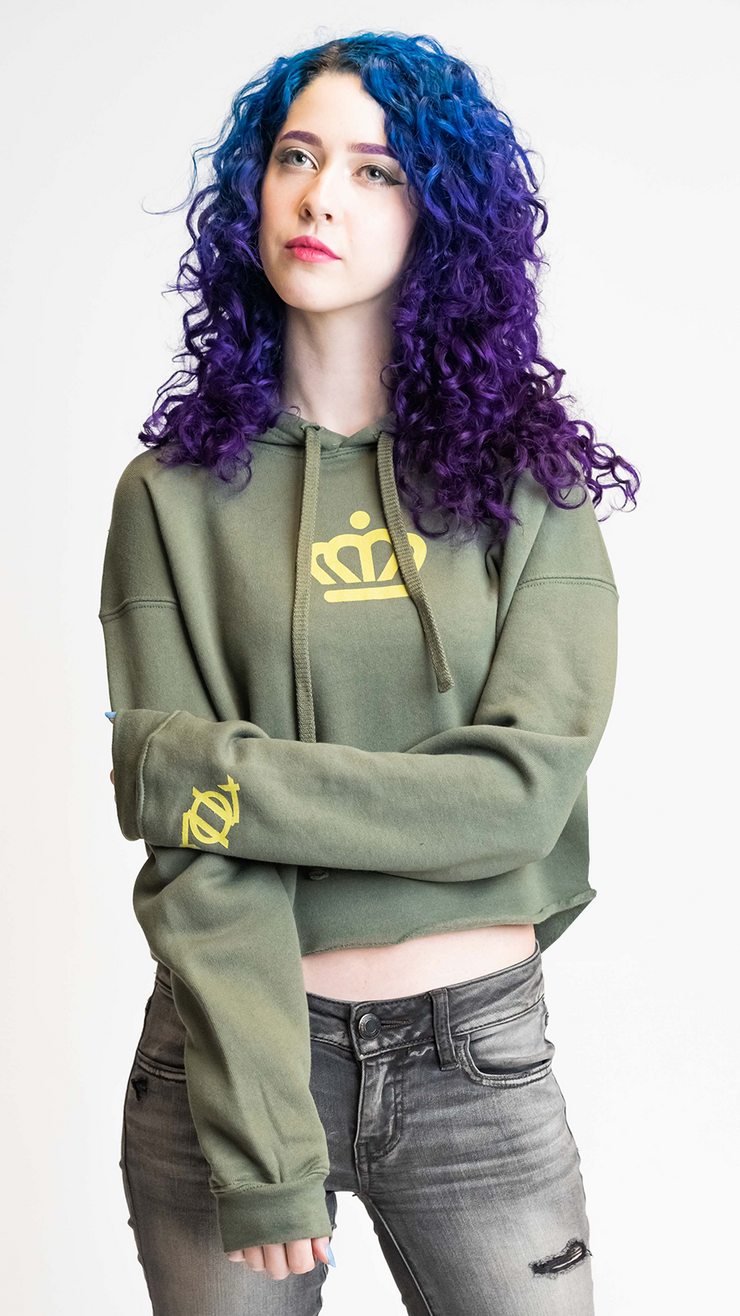 704 Shop x City of Charlotte - Official Crown Crop Hoodie - Army (Women's)